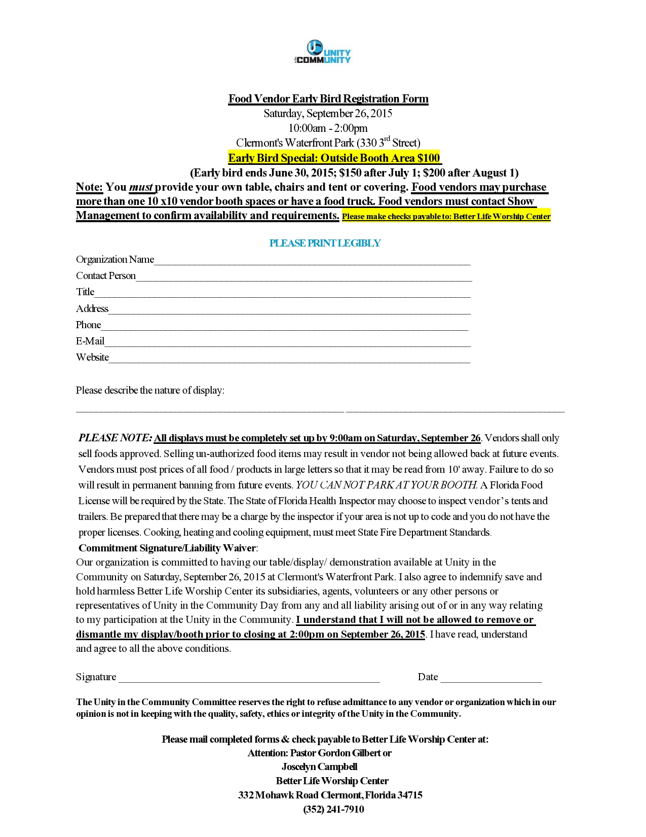 Food Vendors Registration Forms – Vendor Registration Form